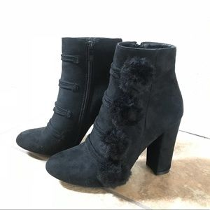 Shoes - Black boots with pom ball embellishments